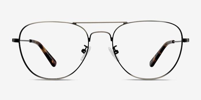 Harrier Dark Gunmetal Metal Eyeglass Frames from EyeBuyDirect, Front View