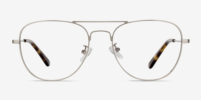 Harrier Gunmetal Metal Eyeglass Frames from EyeBuyDirect, Front View