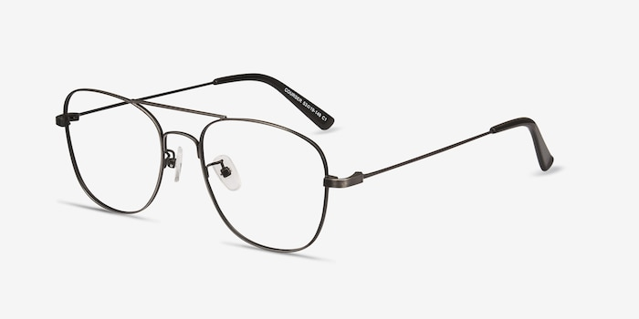 Courser Gunmetal Metal Eyeglass Frames from EyeBuyDirect, Angle View