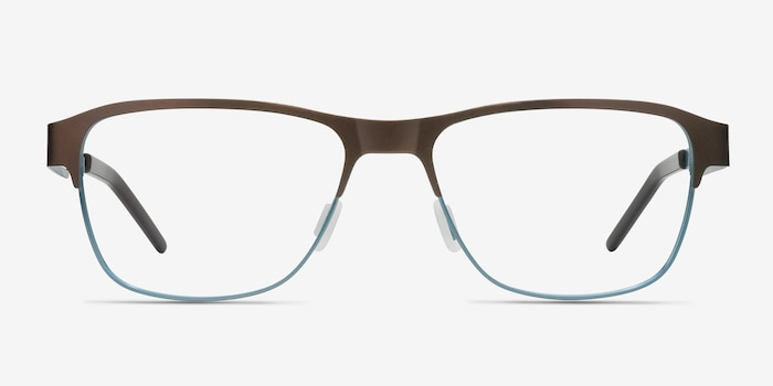 Python Matte Brown Metal Eyeglass Frames from EyeBuyDirect, Front View