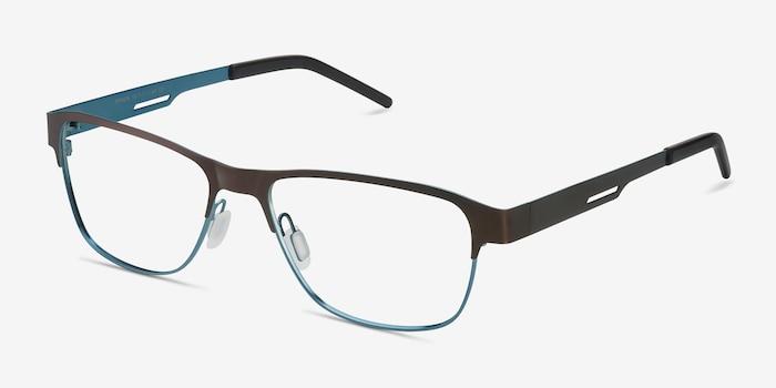 Python Matte Brown Metal Eyeglass Frames from EyeBuyDirect, Angle View