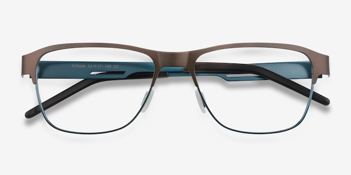 Python Matte Brown Metal Eyeglass Frames from EyeBuyDirect, Closed View