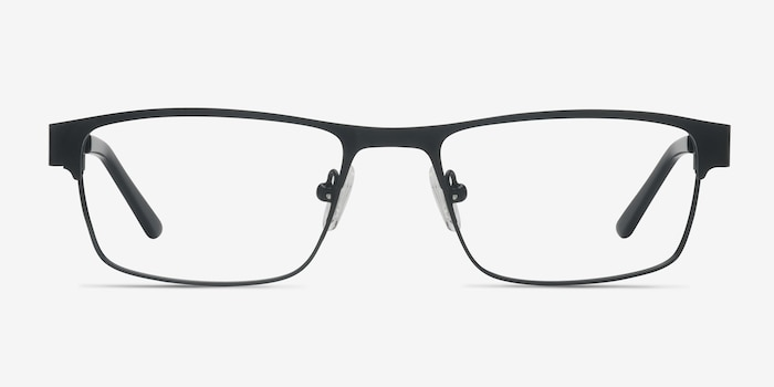 Java Black Metal Eyeglass Frames from EyeBuyDirect, Front View