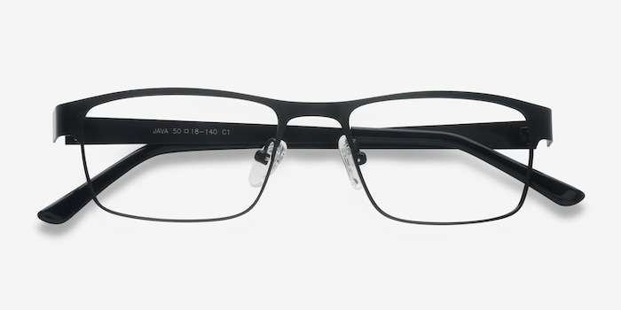 Java Black Metal Eyeglass Frames from EyeBuyDirect, Closed View