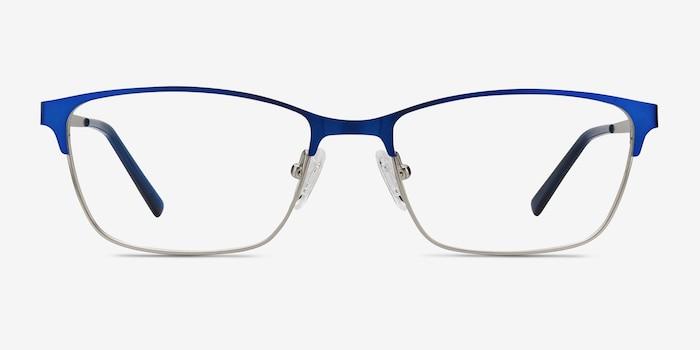 Cascade Bleu Métal Montures de Lunettes d'EyeBuyDirect, Vue de Face