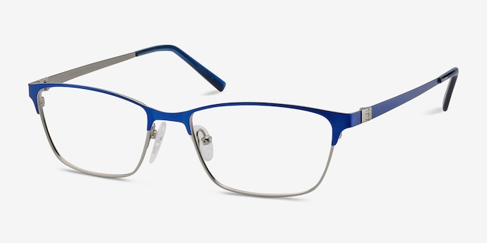 Cascade Blue Metal Eyeglass Frames from EyeBuyDirect, Angle View