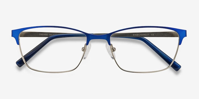 Cascade Blue Metal Eyeglass Frames from EyeBuyDirect, Closed View