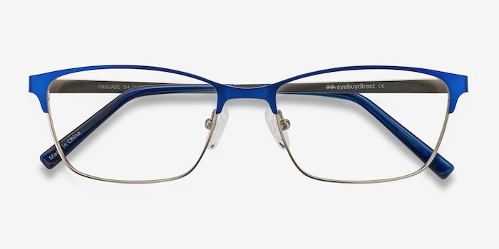 Cascade Bleu Métal Montures de Lunettes d'EyeBuyDirect, Vue Rapprochée
