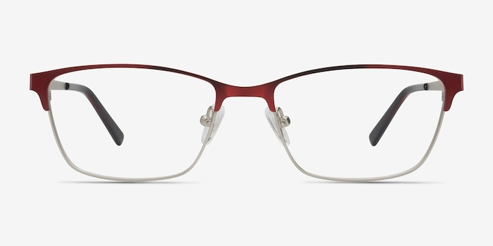 Cascade Red Metal Eyeglass Frames from EyeBuyDirect, Front View