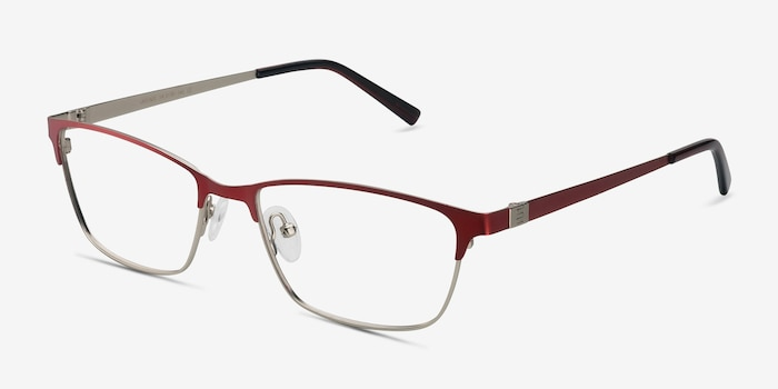 Cascade Red Metal Eyeglass Frames from EyeBuyDirect, Angle View