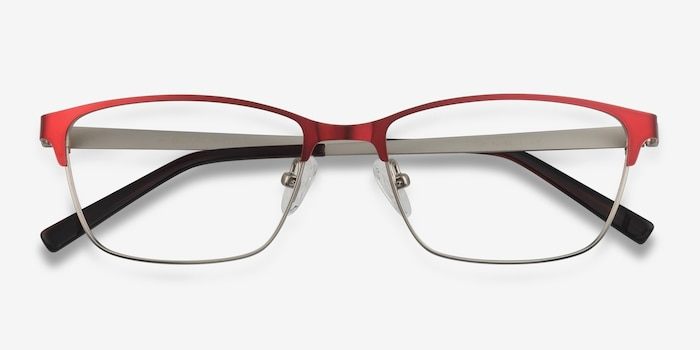 Cascade Red Metal Eyeglass Frames from EyeBuyDirect, Closed View