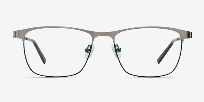 Pinion Gunmetal Metal Eyeglass Frames from EyeBuyDirect, Front View