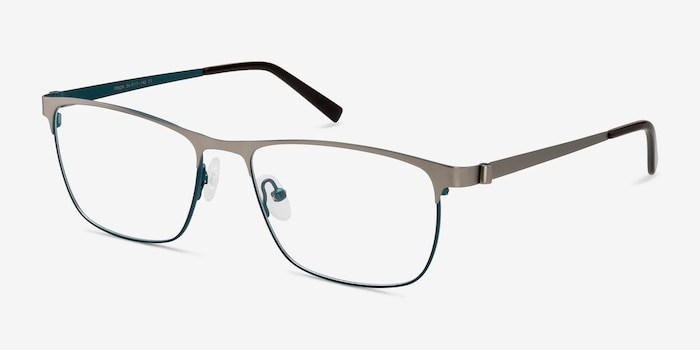 Pinion Gunmetal Metal Eyeglass Frames from EyeBuyDirect, Angle View
