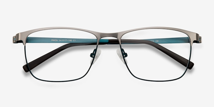 Pinion Gunmetal Metal Eyeglass Frames from EyeBuyDirect, Closed View