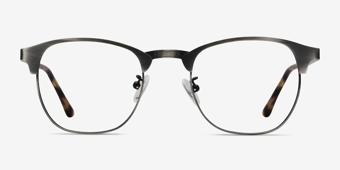 Ferrous Gunmetal Metal Eyeglass Frames from EyeBuyDirect, Front View