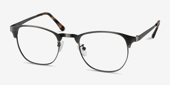 Ferrous Gunmetal Metal Eyeglass Frames from EyeBuyDirect, Angle View