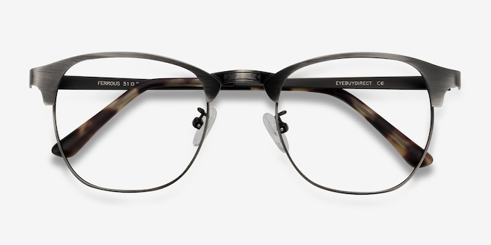 Ferrous Gunmetal Metal Eyeglass Frames from EyeBuyDirect, Closed View
