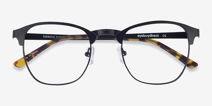 Ferrous Black Metal Eyeglass Frames from EyeBuyDirect, Closed View