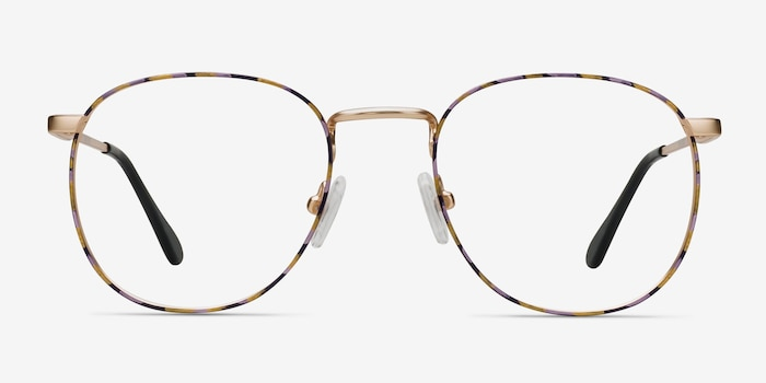 Blossom Floral Golden Metal Eyeglass Frames from EyeBuyDirect, Front View