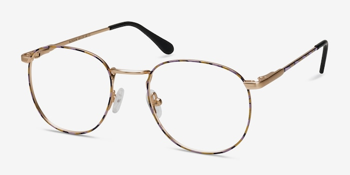 Blossom Floral Golden Metal Eyeglass Frames from EyeBuyDirect, Angle View