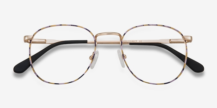 Blossom Floral Golden Metal Eyeglass Frames from EyeBuyDirect, Closed View