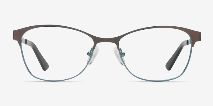 Sabrina Brown Blue Metal Eyeglass Frames from EyeBuyDirect, Front View
