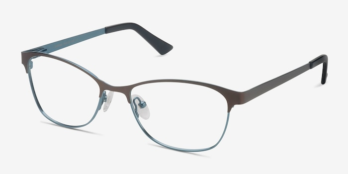 Sabrina Brown Blue Metal Eyeglass Frames from EyeBuyDirect, Angle View