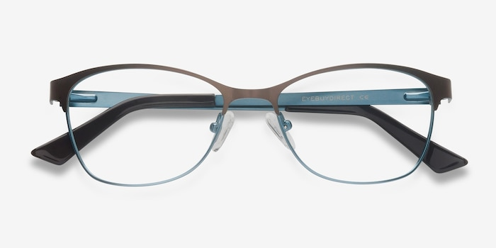 Sabrina Brown Blue Metal Eyeglass Frames from EyeBuyDirect, Closed View