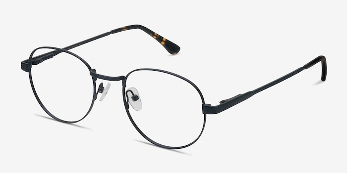 Belleville Navy Metal Eyeglass Frames from EyeBuyDirect, Angle View