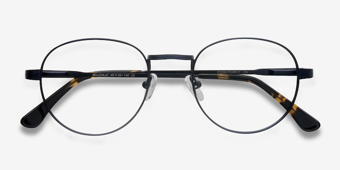 Belleville Navy Metal Eyeglass Frames from EyeBuyDirect, Closed View