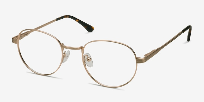 Belleville Golden Metal Eyeglass Frames from EyeBuyDirect, Angle View