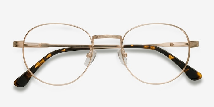 Belleville Golden Metal Eyeglass Frames from EyeBuyDirect, Closed View