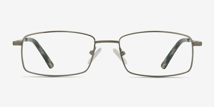 Tab Gunmetal Metal Eyeglass Frames from EyeBuyDirect, Front View