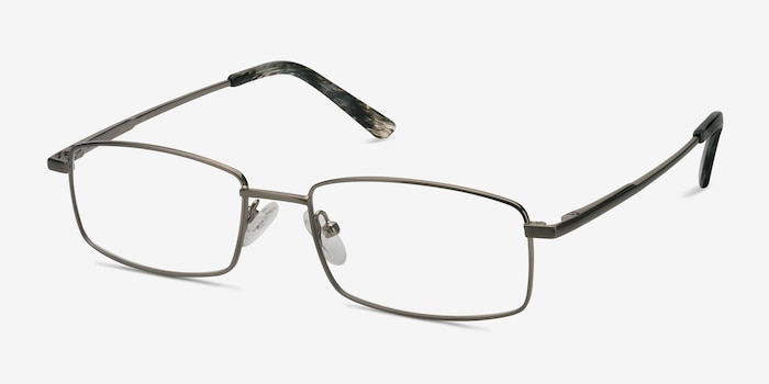 Tab Gunmetal Metal Eyeglass Frames from EyeBuyDirect, Angle View