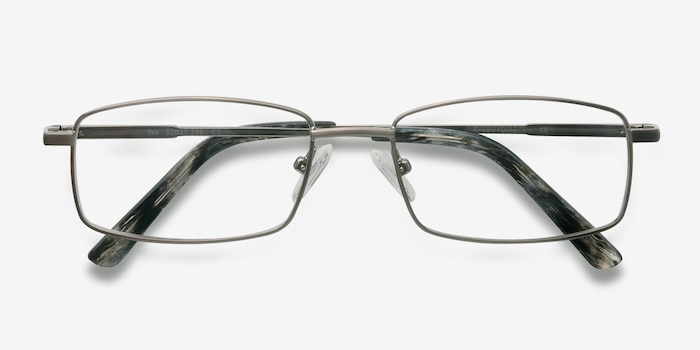 Tab Gunmetal Metal Eyeglass Frames from EyeBuyDirect, Closed View