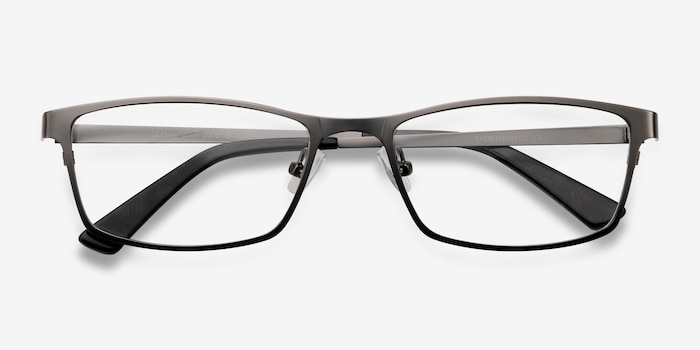 Germantown Gunmetal Metal Eyeglass Frames from EyeBuyDirect, Closed View