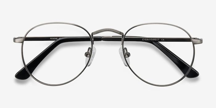 Pensive Gunmetal Metal Eyeglass Frames from EyeBuyDirect, Closed View