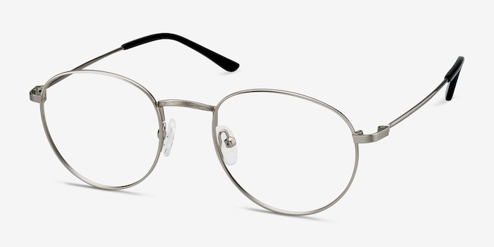 Epilogue Silver Metal Eyeglass Frames from EyeBuyDirect, Angle View
