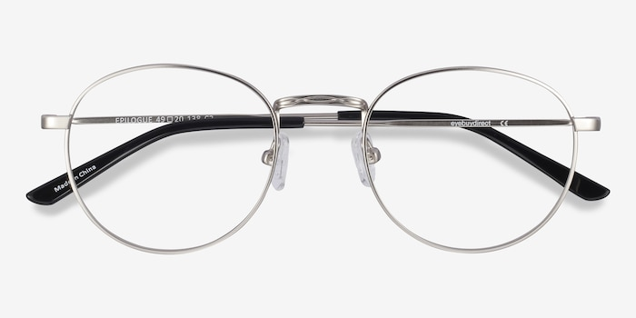 Epilogue Silver Metal Eyeglass Frames from EyeBuyDirect, Closed View