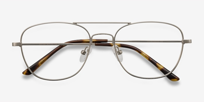 Captain Silver Metal Eyeglass Frames from EyeBuyDirect, Closed View