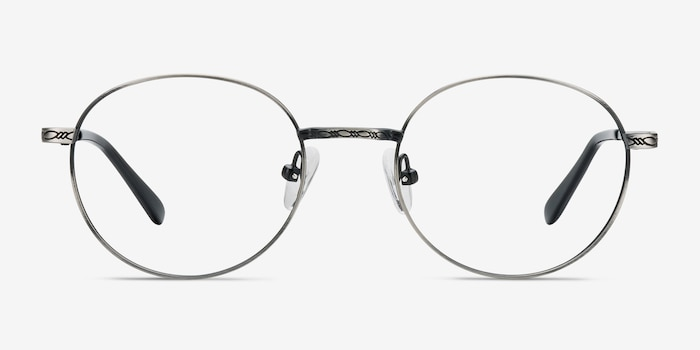 Ledger Gray Metal Eyeglass Frames from EyeBuyDirect, Front View