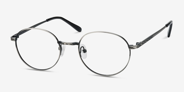 Ledger Gray Metal Eyeglass Frames from EyeBuyDirect, Angle View