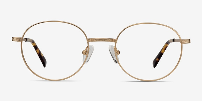 Ledger Golden Metal Eyeglass Frames from EyeBuyDirect, Front View