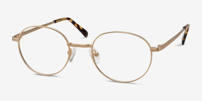 Ledger Golden Metal Eyeglass Frames from EyeBuyDirect, Angle View