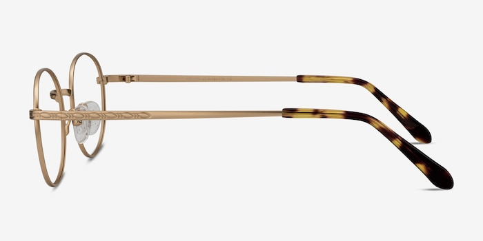 Ledger Golden Metal Eyeglass Frames from EyeBuyDirect, Side View