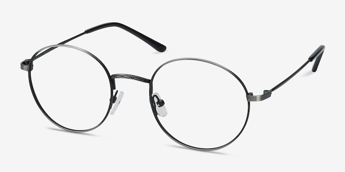 Motif Gunmetal Metal Eyeglass Frames from EyeBuyDirect, Angle View