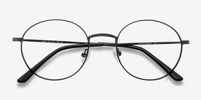 Motif Black Metal Eyeglass Frames from EyeBuyDirect, Closed View