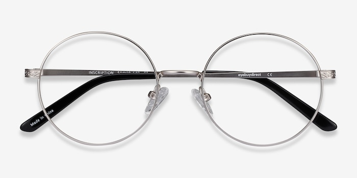 Inscription Silver Metal Eyeglass Frames from EyeBuyDirect, Closed View