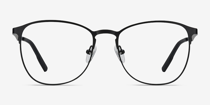Ember Matte Black Metal Eyeglass Frames from EyeBuyDirect, Front View