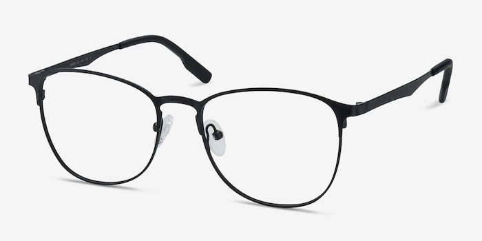 Ember Matte Black Metal Eyeglass Frames from EyeBuyDirect, Angle View